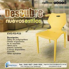 #ponlecoloratusespacios, especial de sillas de polipropileno para entrega inmediata.¡Ven y visítanos! Contáctenos a los teléfonos:2440-1620/2440-1607