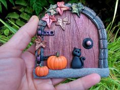Halloween Decoration Fairy Door with MAGICAL Pumpkins, Samhain Autumn witches black cat. Fairy Garden Doors, Fairy Doors, Fairy Gardens, Halloween Clay, Halloween Fairy, Autumn Fairy, Autumn Garden, Hobbit Hole, The Hobbit