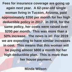Fees for insurance coverage are going up again next year. Urgent Care, Tucson Arizona, Health Care, Politics, Author, Woman, Twitter, Writers, Women