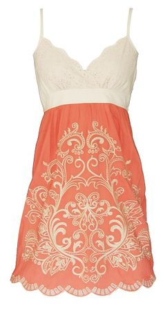 Orange Embroidery Camisole Dress