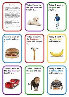 "A fantastic activity to break the ice while engaging in group activities. Your students will enjoy coming up with creative answers while working on auditory memory, categories and learning to communicate with more confidence in front of their peers.    Included is an instruction card and 17 memory game cards (e.g. ""Today I went on a picnic and ate a ..."") which challenge students to remember increasingly more items, and to add their own to the category."