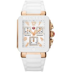Pre-owned Nwt Michele Park Jelly Bean Watch Mww06l000014 ($248) ❤ liked on Polyvore featuring jewelry, watches, accessories, white wrist watch, pre owned watches, michele watches, preowned watches and white jewelry