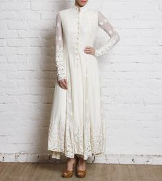 Off White Sequined Jacquard And Georgette Anarkali Kurta