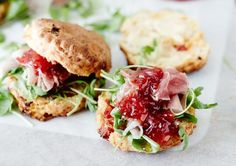 Cheese scones with parma ham and chilli watermelon jam plus rocket Watermelon Jam, Cheese Scones, Parma Ham, Salmon Burgers, Food Photography, Lunch, Ethnic Recipes, Watermelon Jelly, Salmon Patties