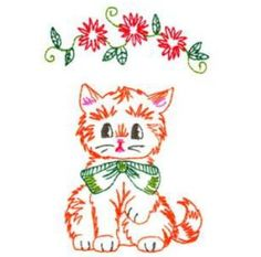 Photo of Vintage Look Kitty Cat Wonderful Machine Embroidery Design in 4 sizes - MUST SEE