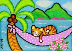 Palmeras balanceándose en la brisa tropical y las suaves olas ~ ¿qué mejor lugar para una siesta de gato largo?!  Se trata de una impresión de mi