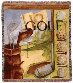 50x60 Vintage GOLF Tapestry Afghan Throw Blanket