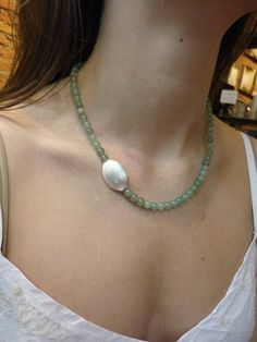 Aventurine Necklace, Aventurine Beads Necklace, Brushed Silver Plated Piece, Delicate Aventurine Necklace, Green Aventurine Natural Gemstone - List of the most beautiful jewelry Stone Jewelry, Beaded Jewelry, Handmade Jewelry, Jewelry Necklaces, Long Necklaces, Silver Necklaces, Bracelets, Green Aventurine, Stud Earrings