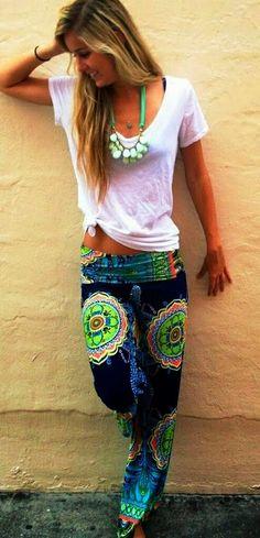 Amazing Exuma Pants and White Blouse