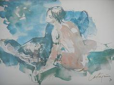 Nombre: Romance | Autor: Juan C. Castagnino |  Técnica: Tinta y Acuarela | Alto: 30cm | Ancho: 40cm | Año: 1971