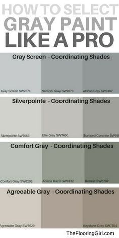 are the most popular shades of gray paint? How to select the best shade of gray paint and a matching accent wall. Most popular gray paints.How to select the best shade of gray paint and a matching accent wall. Most popular gray paints. Paint Colors For Living Room, Paint Colors For Home, Paint Colours, Bedroom Colors, Best Paint For Walls, Gray Living Room Walls, Cabin Paint Colors, Beach Paint Colors, Lowes Paint Colors