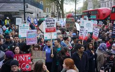 Britain's opposition Labour Party leader Jeremy Corbyn joins a doctors and teachers protest in central London on April 26, 2016 as they march from St Thomas' hospital to the Department of Health. Junior doctors in the country staged their first ever all-out strike this day in a bitter, deadlocked row with Prime Minister David Cameron's government over pay and conditions. The strike forced 13,000 operations and 113,000 appointments to be postponed by the National Health Service, which employs…