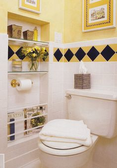 Big Recessed Shelving W/ Magazine Rack (BHG)   Keeps The Tp Roll From  Sticking Out From The Wall Too.