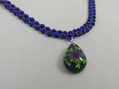 Sapphire Blue And Black Beaded Necklace Blue Flower by CallunaMuse