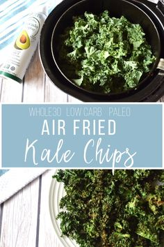 This air fryer recipe for kale chips is yet another fun way to spruce up your vegetables. This recipe is healthy, easy and satisfies cravings for crunch! A total win! #airfryerrecipes #whole30recipes #airfryer...