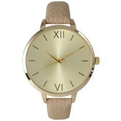 This timepiece features a simplistic look with a goldtone dial, hands, and Roman numeral markers. This timepiece also features a goldtone bezel and a leather band that closes with a simple buckle clasp.