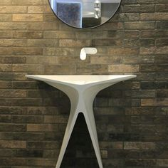 MyBath Silence washbasin designed by Mac Stopa www. Washbasin Design, Solid Surface, Surface Design, Mac, Dining Table, Mirror, Bathroom, Furniture, Home Decor