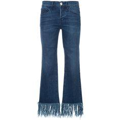 3X1 fringed hem skinny jeans ($460) ❤ liked on Polyvore featuring jeans, blue, skinny jeans, skinny leg jeans, cut skinny jeans, denim skinny jeans and blue jeans