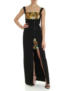 Versace Jeans Couture Tropical Baroque Print Long Dress In Black Versace Jeans Couture, Dress Outfits, Dresses, Couture Fashion, World Of Fashion, Baroque, Your Style, Tropical, Clothes For Women