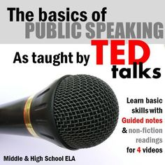 Guided notes for 4 TED talks to authentically teach students the basics of public speaking! ALSO includes a class discussion activity and a non-fiction article reading jigsaw. Basically…TED talks will sometimes save your life. Public Speaking Activities, Public Speaking Tips, Grammar Activities, Teaching Tools, Teaching Resources, Teaching Ideas, Speech And Debate, Workshop, Presentation Skills