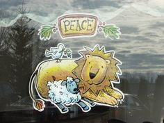 Hand Drawn Window Paintings, Christmas Window Painting, Seasonal Window Painting, Custom Window Art   Graphic Garden