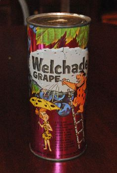 The Flintstones Hanna Barbera Welch's Welchade Grape Can Unopened Full 1964 Welch Juice, Welch Grape Juice, Vintage Food Labels, Vintage Packaging, Retro Recipes, Vintage Recipes, Non Alcoholic Drinks, Beverages, Soda Brands