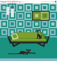 20% OFF Cat Cross Stitch Kit By Kerry Beary Retro Cat Needle Craft Pattern with DMC Materials Christmas Gift