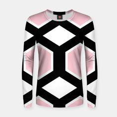 Woman cotton sweater, pink black Hexagons Hexagons, Design Shop, Cotton Sweater, Pink Black, Comfy, Boutique, Live, Stylish, Sweatshirts