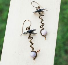 Extreme Unique Driller Art Earrings Wire Wrap Ace Hardware Petrified Wood Bead #Jeanninehandmade #Wrap