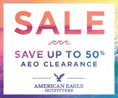 AMERICAN EAGLE - SAVE UP TO 50% AEO CLEARANCEのバナーデザイン