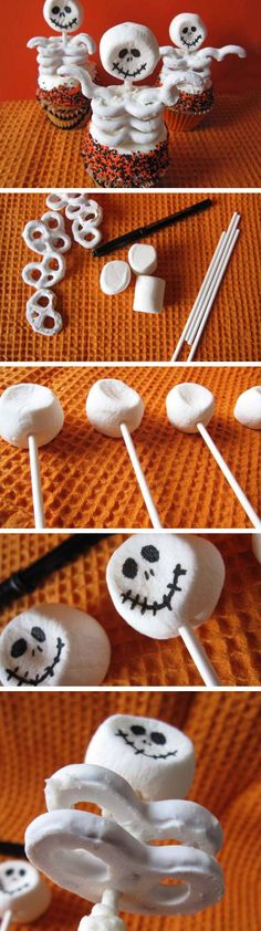 Skeleton Cupcakes | Click Pic for 22 DIY Halloween Party Ideas for Kids | Easy Halloween Party Food Ideas for Kids to Make