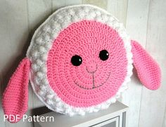 My Sweet Sheep Cushion - PDF Crochet Pattern // A Pillow that makes you smile // A little lamb to cuddle