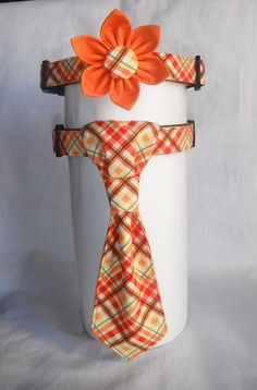 Dog Collar Flower/Neck Tie Set by chiwawagearharnesses on Etsy, $22.00 for Jen's dogs at her wedding