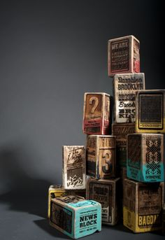 Vivd | Mixed | Color | Colour | цвет | カラー | Couleur | Colore | Laser engraved wood news blocks by Kudzd, 16 in total.