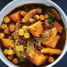 Fragrantly spiced beef with chickpeas and sweet potatoes make for a satisfying, protein-rich meal.