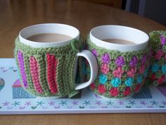 Free Patterns - Crochet Mug Cosies - Lucy 'In the sky'