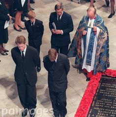 Charles Spencer with Princes William, Charles and Harry at Diana's Funeral.