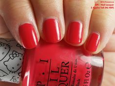 OPI Nail Lacquer in 5 Apples Tall (swatch by fivezero.ca) [red, hellokitty]