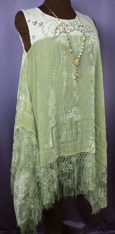 Interesting Tunic Vintage Lace and Burnout Velvet - Seafoam Green
