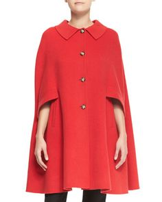 Button-Front Wool Cape by Armani Collezioni at Bergdorf Goodman.