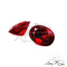 1pcs AAAAA 8x6mm Dark Red Garnet Cubic Zirconia Diamond by AoryNL