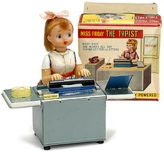 """""""Miss Friday The Typist,"""" circa 1958. Tin. Vinyl doll. Battery operated. Love the pony tail.  May 2012"""