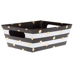 Stripe with Gold Dots Box with Cut-Out Handles