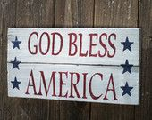40% off Sale, Rustic Barn Wood Sign, Upcycled Reclaimed, Patriotic Red White & Blue Americana White Wash USA 4th of July pallet wood