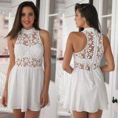 Vestido de Encaje para Mujer-Blanco