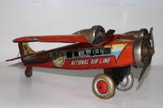 1930s Made in Japan Large Fokker Windup Tri-Motor Tin Airplane, Original