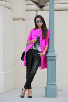 "Neon Pink Jacket, so girly and so bold.  Pair it with some sassy pumps and some leather pants, I feel like this whole outfit screams ""I'm girl. See my sweet fashion.""  This outfit makes my inner fashion girl jump with glee."