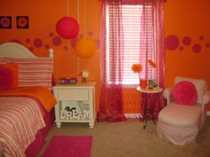 orange pink and yellow bedroom so cute and vibrant