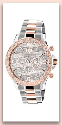This Mens Real Diamond Watch by Luxurman Liberty features 0.2 carats of sparkling round diamonds, dial paved in sparkling stones and a quality Swiss Quartz movement with Date/Calendar/24 hours subdials.