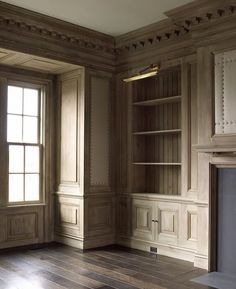 What's not to love about our knotty pine library, limewashed and more limewash, with more limewash. Classic Interior, Interior Trim, Interior And Exterior, Interior Design, Home Office Design, House Design, Knotty Pine Doors, Muebles Living, H & M Home